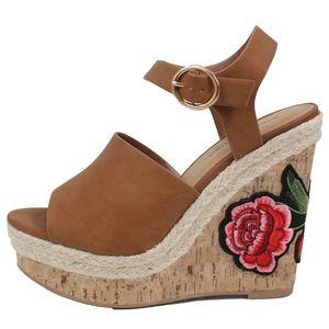 Shoes - Tan Open Toe Patch Espadrille Cork Wedge Teagan